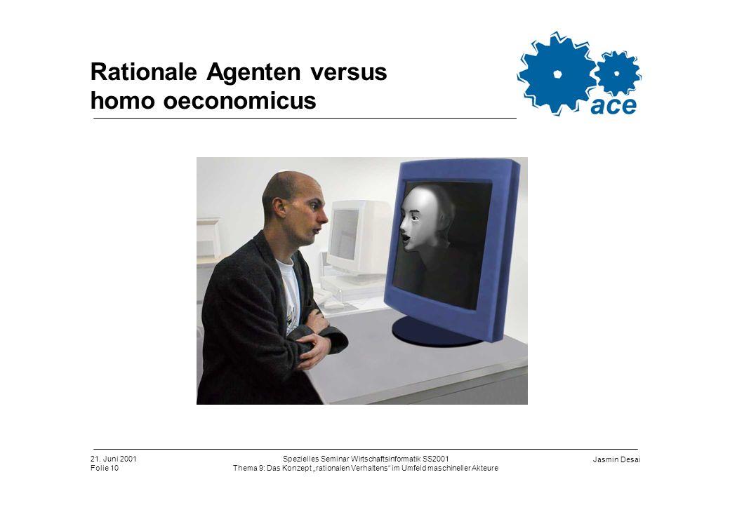 21. Juni 2001 Folie 10 Spezielles Seminar Wirtschaftsinformatik SS2001 Thema 9: Das Konzept rationalen Verhaltens im Umfeld maschineller Akteure Jasmi
