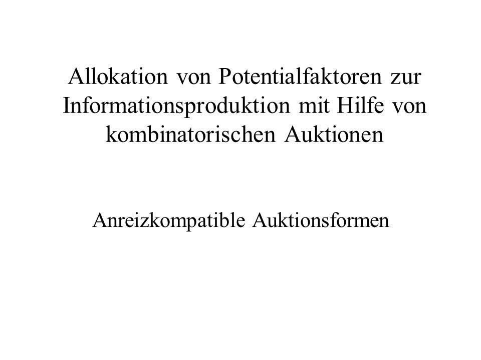 Allokation von Potentialfaktoren zur Informationsproduktion mit Hilfe von kombinatorischen Auktionen Anreizkompatible Auktionsformen