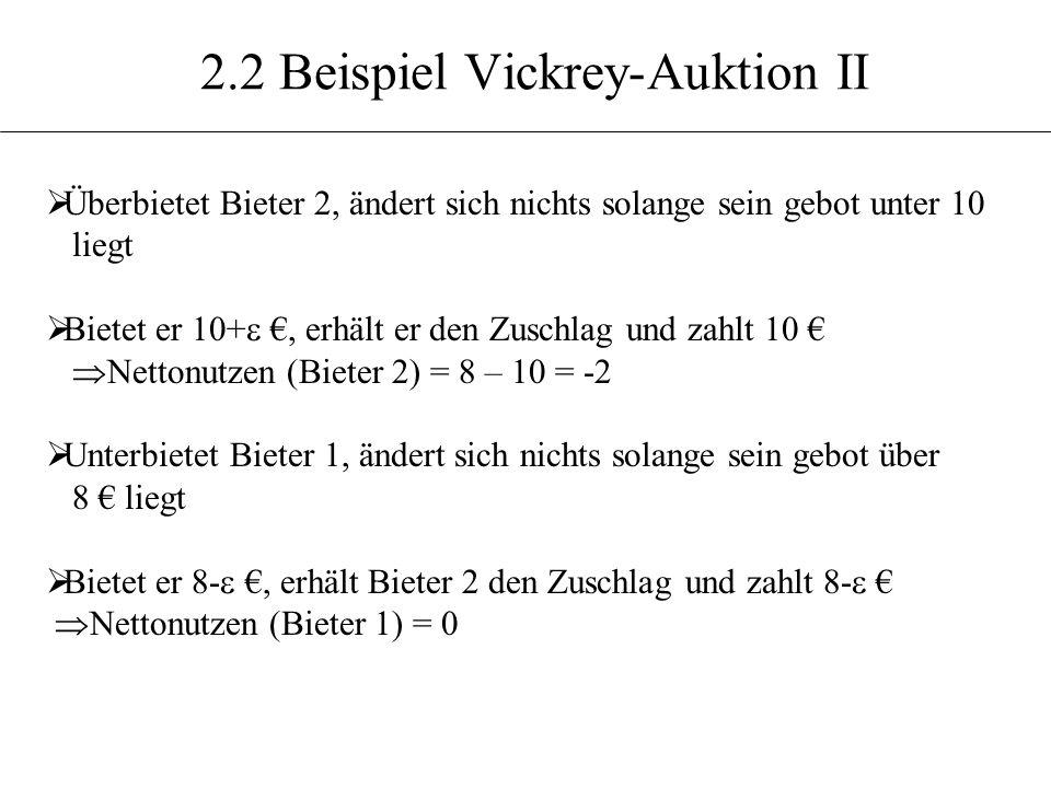 2.2 Beispiel Vickrey-Auktion II Überbietet Bieter 2, ändert sich nichts solange sein gebot unter 10 liegt Bietet er 10+, erhält er den Zuschlag und za