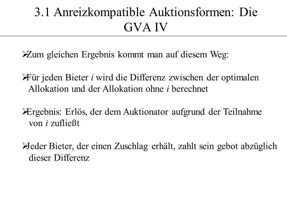 3.1 Anreizkompatible Auktionsformen: Die GVA IV Zum gleichen Ergebnis kommt man auf diesem Weg: Für jeden Bieter i wird die Differenz zwischen der opt