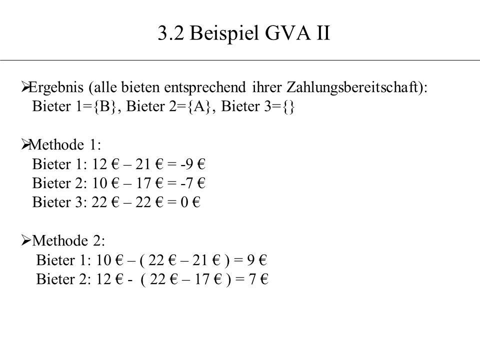 3.2 Beispiel GVA II Ergebnis (alle bieten entsprechend ihrer Zahlungsbereitschaft): Bieter 1={B}, Bieter 2={A}, Bieter 3={} Methode 1: Bieter 1: 12 –