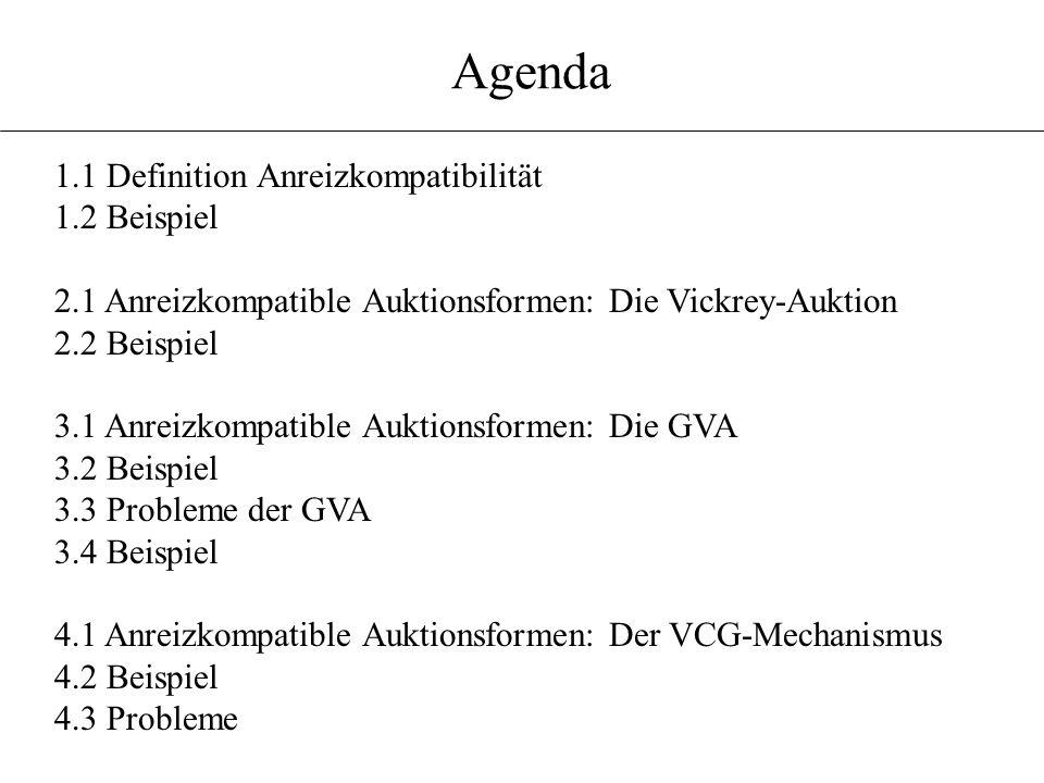 Agenda 1.1 Definition Anreizkompatibilität 1.2 Beispiel 2.1 Anreizkompatible Auktionsformen: Die Vickrey-Auktion 2.2 Beispiel 3.1 Anreizkompatible Auk