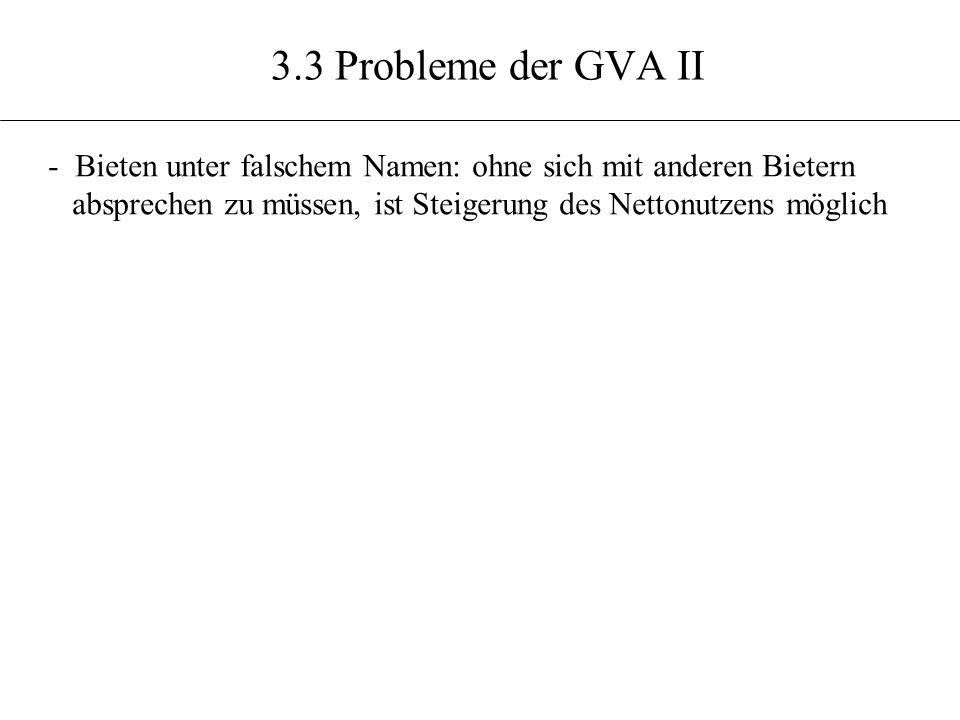 3.3 Probleme der GVA II - Bieten unter falschem Namen: ohne sich mit anderen Bietern absprechen zu müssen, ist Steigerung des Nettonutzens möglich