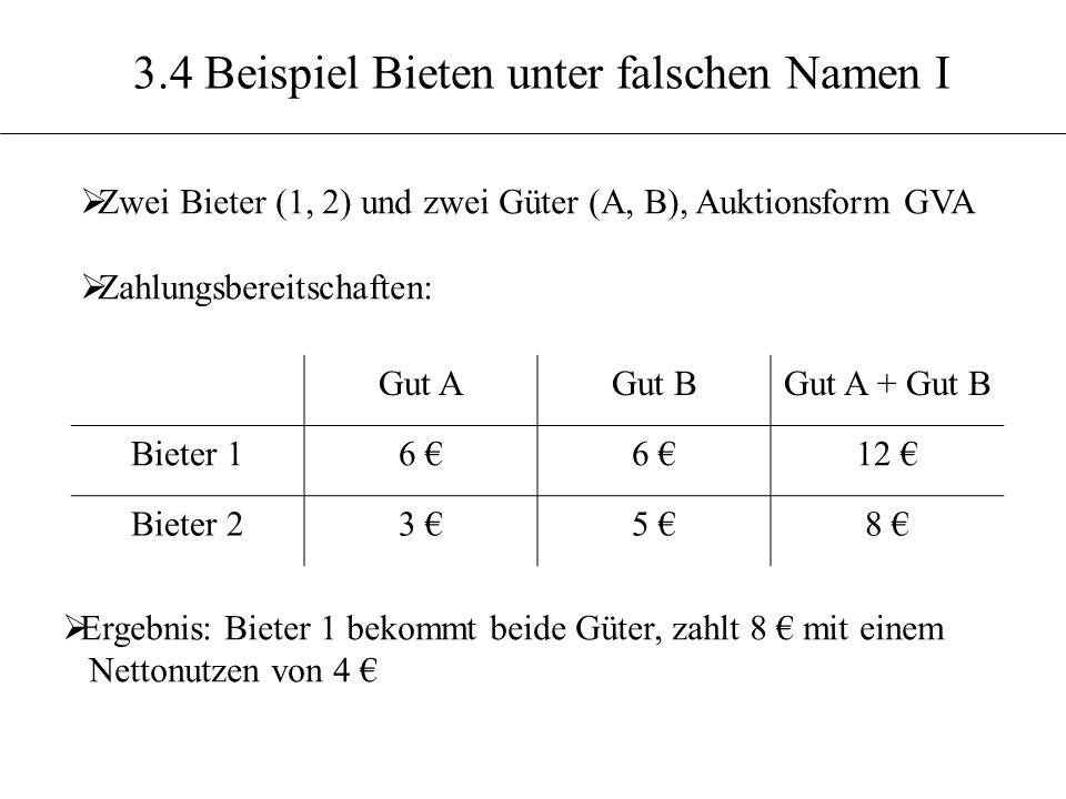 3.4 Beispiel Bieten unter falschen Namen I Zwei Bieter (1, 2) und zwei Güter (A, B), Auktionsform GVA Zahlungsbereitschaften: Gut AGut BGut A + Gut B