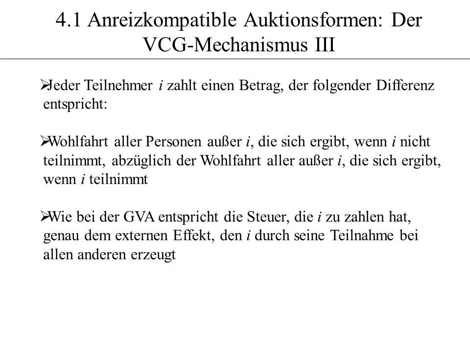 4.1 Anreizkompatible Auktionsformen: Der VCG-Mechanismus III Jeder Teilnehmer i zahlt einen Betrag, der folgender Differenz entspricht: Wohlfahrt alle