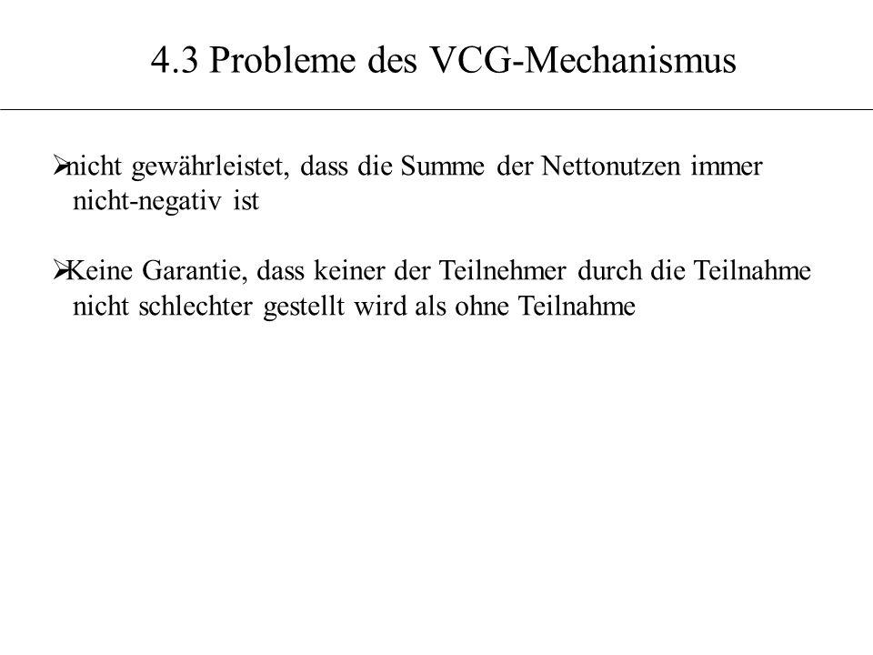 4.3 Probleme des VCG-Mechanismus nicht gewährleistet, dass die Summe der Nettonutzen immer nicht-negativ ist Keine Garantie, dass keiner der Teilnehme