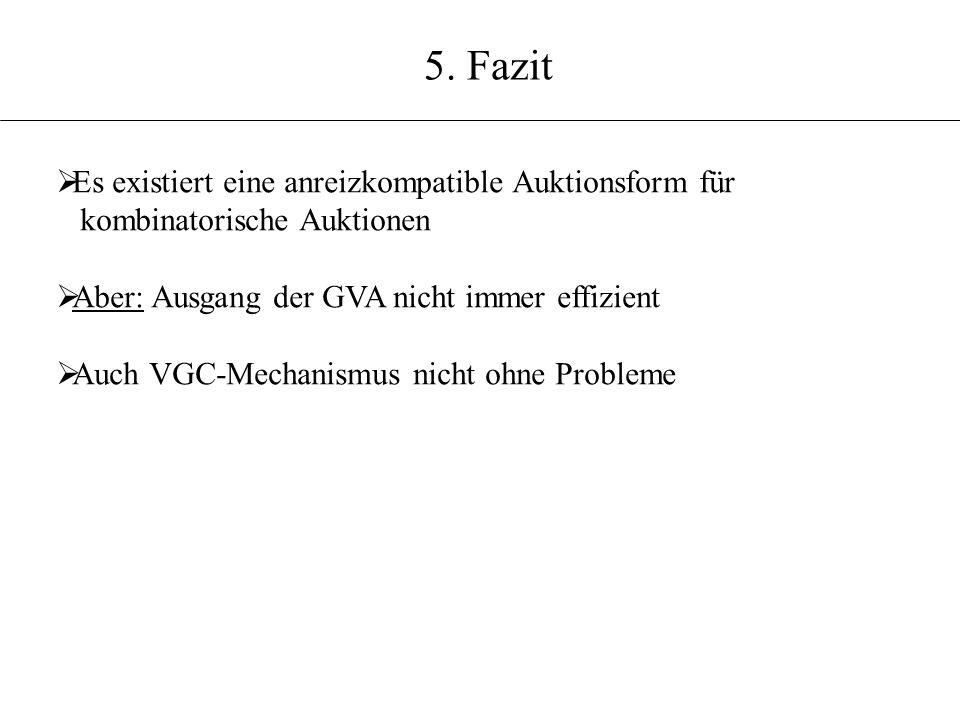 5. Fazit Es existiert eine anreizkompatible Auktionsform für kombinatorische Auktionen Aber: Ausgang der GVA nicht immer effizient Auch VGC-Mechanismu
