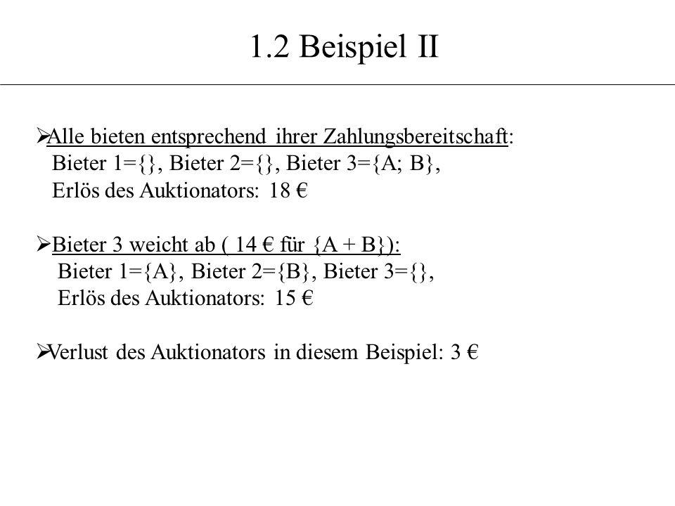 1.2 Beispiel II Alle bieten entsprechend ihrer Zahlungsbereitschaft: Bieter 1={}, Bieter 2={}, Bieter 3={A; B}, Erlös des Auktionators: 18 Bieter 3 we