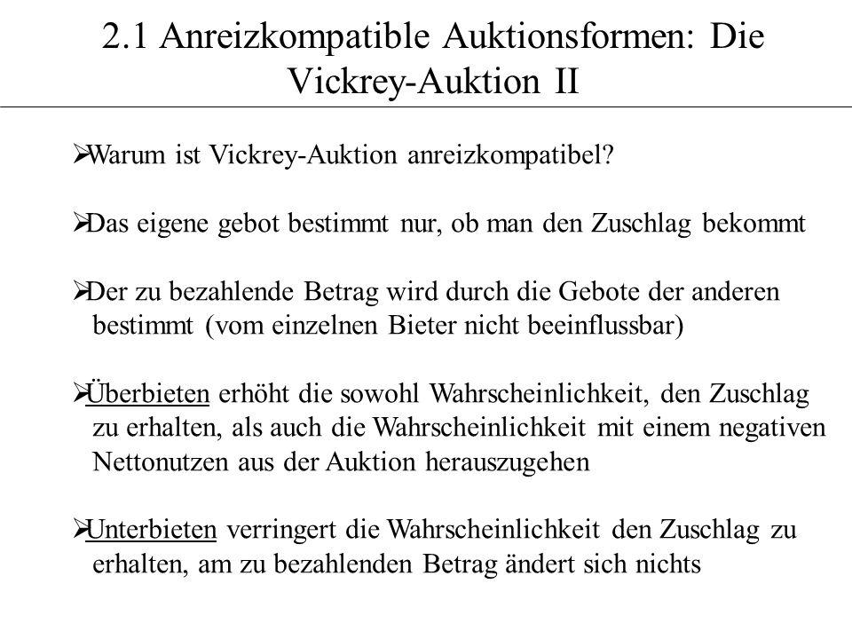 2.1 Anreizkompatible Auktionsformen: Die Vickrey-Auktion II Warum ist Vickrey-Auktion anreizkompatibel? Das eigene gebot bestimmt nur, ob man den Zusc