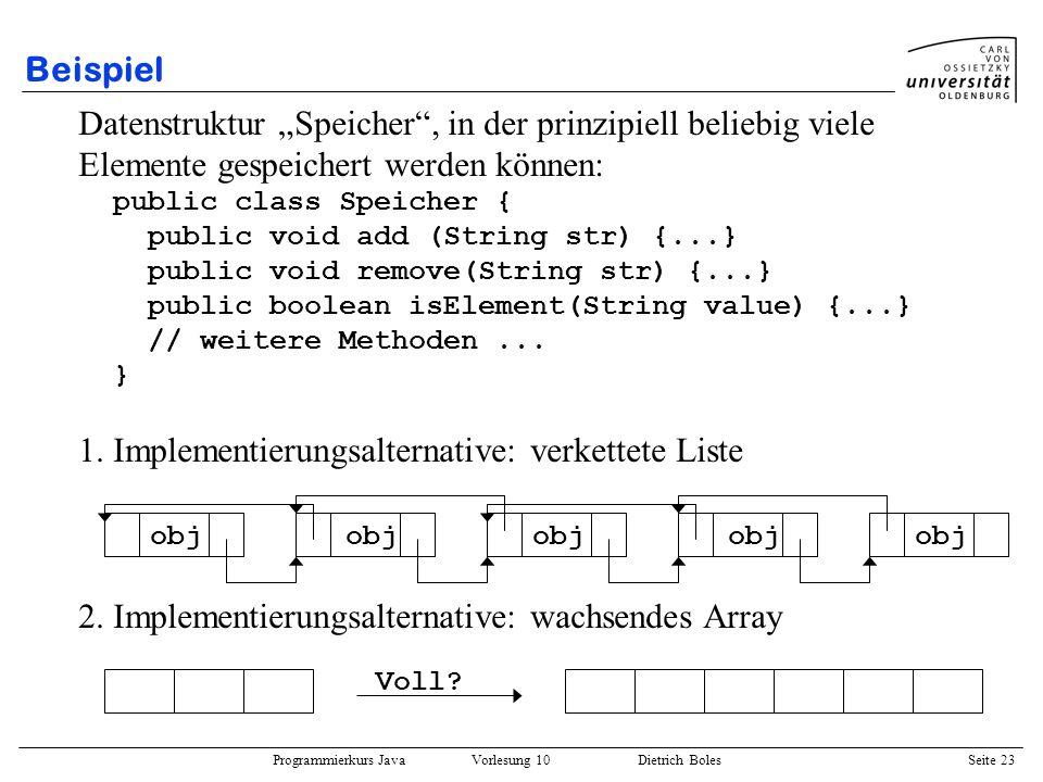 Programmierkurs Java Vorlesung 10 Dietrich Boles Seite 23 Beispiel Datenstruktur Speicher, in der prinzipiell beliebig viele Elemente gespeichert werd