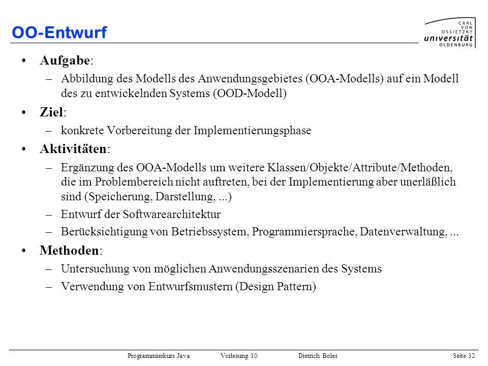 Programmierkurs Java Vorlesung 10 Dietrich Boles Seite 32 OO-Entwurf Aufgabe: –Abbildung des Modells des Anwendungsgebietes (OOA-Modells) auf ein Mode