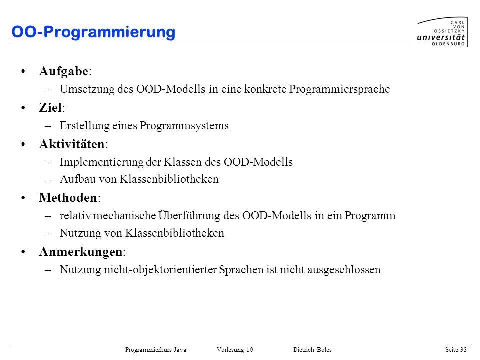Programmierkurs Java Vorlesung 10 Dietrich Boles Seite 33 OO-Programmierung Aufgabe: –Umsetzung des OOD-Modells in eine konkrete Programmiersprache Zi