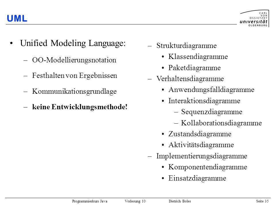 Programmierkurs Java Vorlesung 10 Dietrich Boles Seite 35 UML Unified Modeling Language: –OO-Modellierungsnotation –Festhalten von Ergebnissen –Kommun