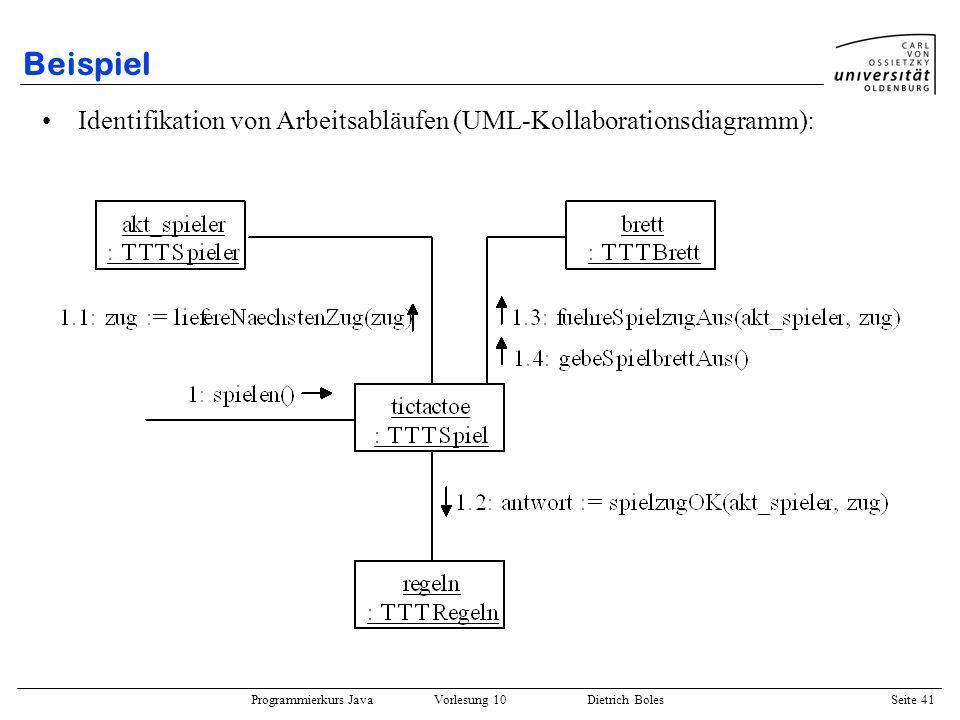 Programmierkurs Java Vorlesung 10 Dietrich Boles Seite 41 Beispiel Identifikation von Arbeitsabläufen (UML-Kollaborationsdiagramm):