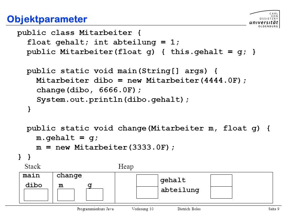 Programmierkurs Java Vorlesung 10 Dietrich Boles Seite 9 Objektparameter public class Mitarbeiter { float gehalt; int abteilung = 1; public Mitarbeite