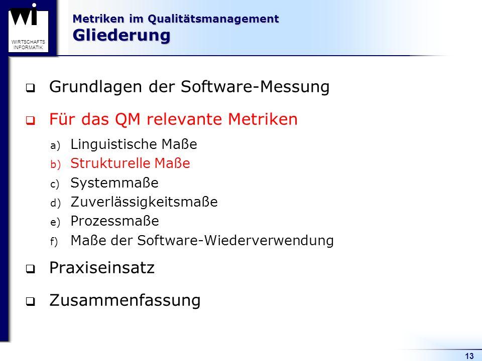 13 WIRTSCHAFTS INFORMATIK Metriken im Qualitätsmanagement Gliederung Grundlagen der Software-Messung Für das QM relevante Metriken a) Linguistische Ma