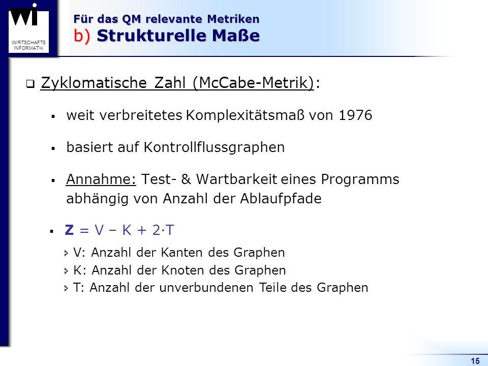 15 WIRTSCHAFTS INFORMATIK Für das QM relevante Metriken b) Strukturelle Maße Zyklomatische Zahl (McCabe-Metrik): weit verbreitetes Komplexitätsmaß von