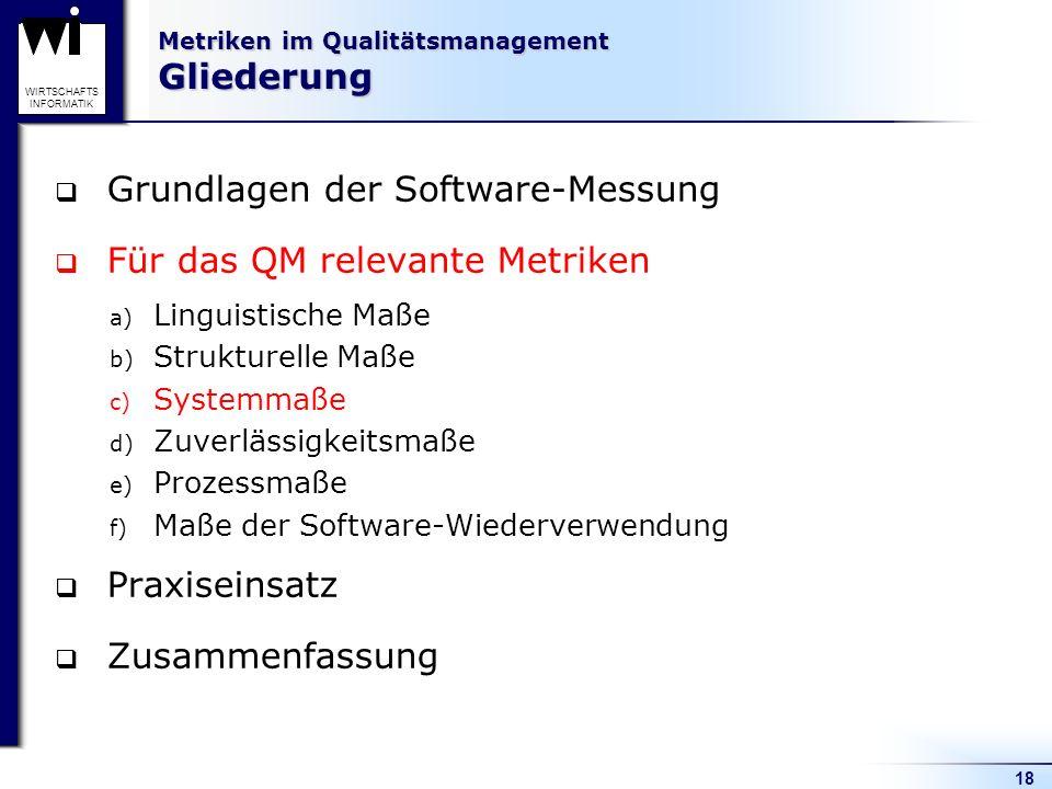 18 WIRTSCHAFTS INFORMATIK Metriken im Qualitätsmanagement Gliederung Grundlagen der Software-Messung Für das QM relevante Metriken a) Linguistische Ma