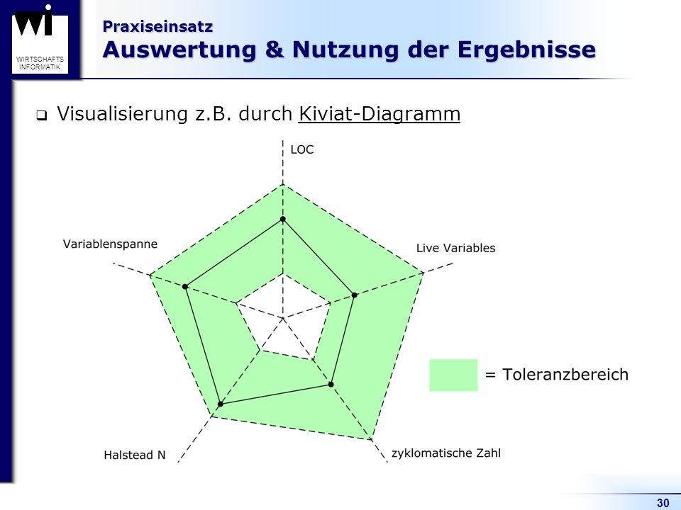 30 WIRTSCHAFTS INFORMATIK Praxiseinsatz Auswertung & Nutzung der Ergebnisse Visualisierung z.B. durch Kiviat-Diagramm