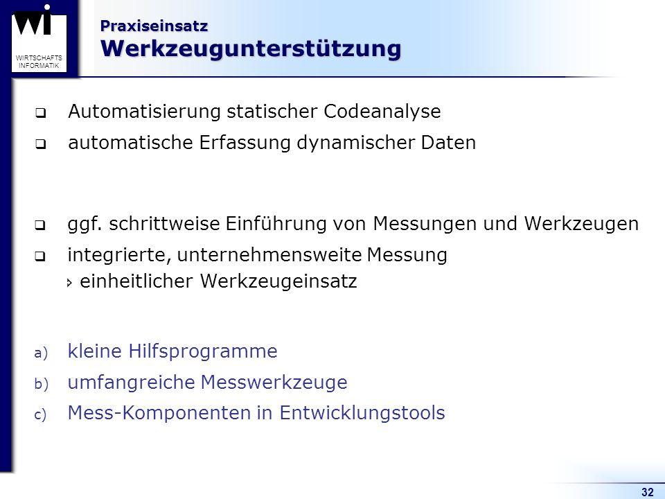 32 WIRTSCHAFTS INFORMATIK Praxiseinsatz Werkzeugunterstützung Automatisierung statischer Codeanalyse automatische Erfassung dynamischer Daten ggf. sch