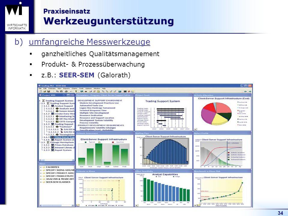 34 WIRTSCHAFTS INFORMATIK Praxiseinsatz Werkzeugunterstützung b)umfangreiche Messwerkzeuge ganzheitliches Qualitätsmanagement Produkt- & Prozessüberwa