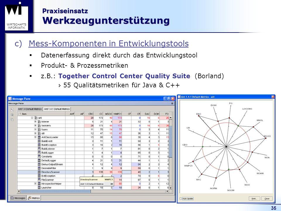 35 WIRTSCHAFTS INFORMATIK Praxiseinsatz Werkzeugunterstützung c)Mess-Komponenten in Entwicklungstools Datenerfassung direkt durch das Entwicklungstool
