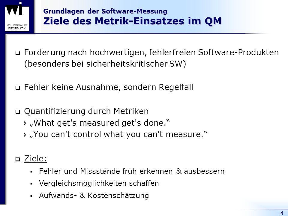 4 WIRTSCHAFTS INFORMATIK Grundlagen der Software-Messung Ziele des Metrik-Einsatzes im QM Fehler keine Ausnahme, sondern Regelfall Quantifizierung dur