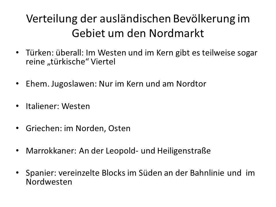 Verteilung der ausländischen Bevölkerung im Gebiet um den Nordmarkt Türken: überall: Im Westen und im Kern gibt es teilweise sogar reine türkische Vie