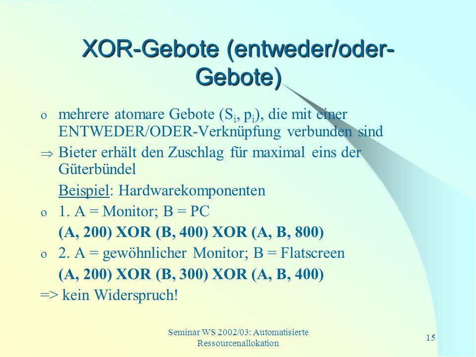 Seminar WS 2002/03: Automatisierte Ressourcenallokation 15 XOR-Gebote (entweder/oder- Gebote) o mehrere atomare Gebote (S i, p i ), die mit einer ENTW