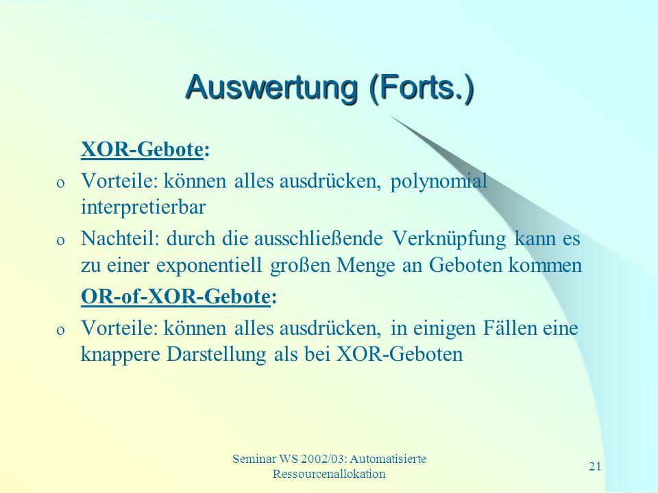 Seminar WS 2002/03: Automatisierte Ressourcenallokation 21 Auswertung (Forts.) XOR-Gebote: o Vorteile: können alles ausdrücken, polynomial interpretie