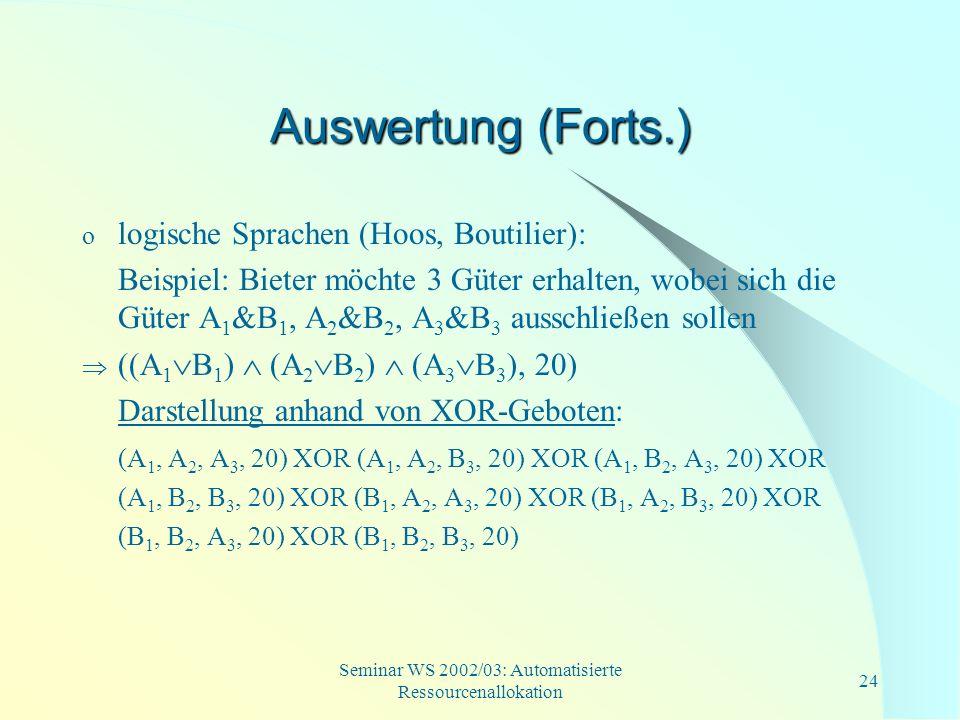 Seminar WS 2002/03: Automatisierte Ressourcenallokation 24 Auswertung (Forts.) o logische Sprachen (Hoos, Boutilier): Beispiel: Bieter möchte 3 Güter