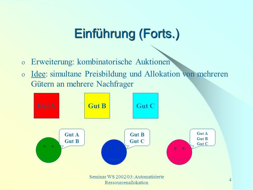 Seminar WS 2002/03: Automatisierte Ressourcenallokation 15 XOR-Gebote (entweder/oder- Gebote) o mehrere atomare Gebote (S i, p i ), die mit einer ENTWEDER/ODER-Verknüpfung verbunden sind Bieter erhält den Zuschlag für maximal eins der Güterbündel Beispiel: Hardwarekomponenten o 1.