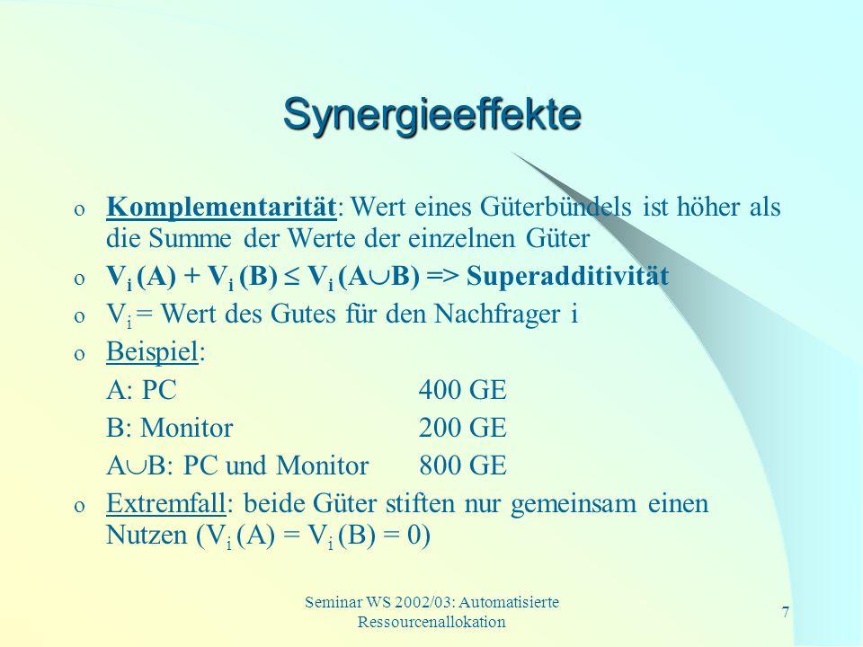 Seminar WS 2002/03: Automatisierte Ressourcenallokation 8 Synergieeffekte (Forts.) o Substitutionalität: Wert eines Güterbündels ist niedriger als die Summe der Werte der einzelnen Güter o V i (A) + V i (B) V i (A B) => Subadditivität Beispiel: A: gewöhnlicher Monitor 200 GE B: Flatscreen300 GE A B: beide Monitore 400 GE o Extremfall: gemeinsamer Wert der beiden Güter entspricht dem Wert des wertmaximalen Gutes => V(A B)= max [V i (A), V i (B)]
