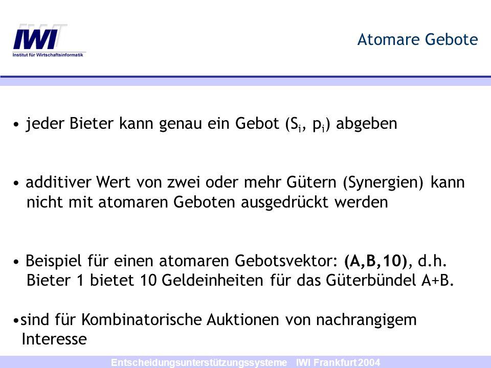 Entscheidungsunterstützungssysteme IWI Frankfurt 2004 Atomare Gebote jeder Bieter kann genau ein Gebot (S i, p i ) abgeben additiver Wert von zwei ode