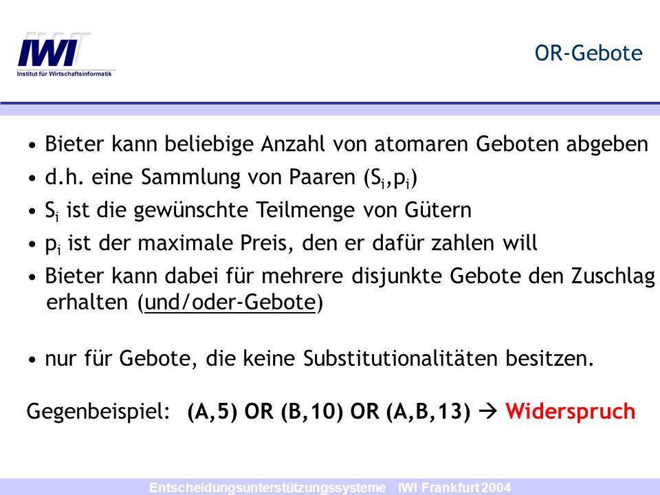 Entscheidungsunterstützungssysteme IWI Frankfurt 2004 OR-Gebote Bieter kann beliebige Anzahl von atomaren Geboten abgeben d.h. eine Sammlung von Paare