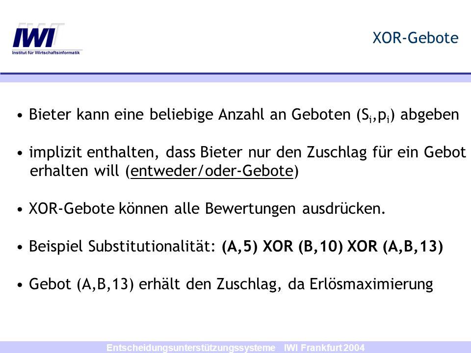 Entscheidungsunterstützungssysteme IWI Frankfurt 2004 XOR-Gebote Bieter kann eine beliebige Anzahl an Geboten (S i,p i ) abgeben implizit enthalten, d