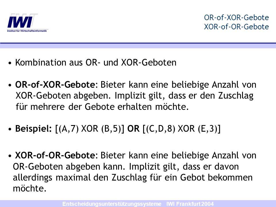 Entscheidungsunterstützungssysteme IWI Frankfurt 2004 OR-of-XOR-Gebote XOR-of-OR-Gebote Kombination aus OR- und XOR-Geboten OR-of-XOR-Gebote: Bieter k
