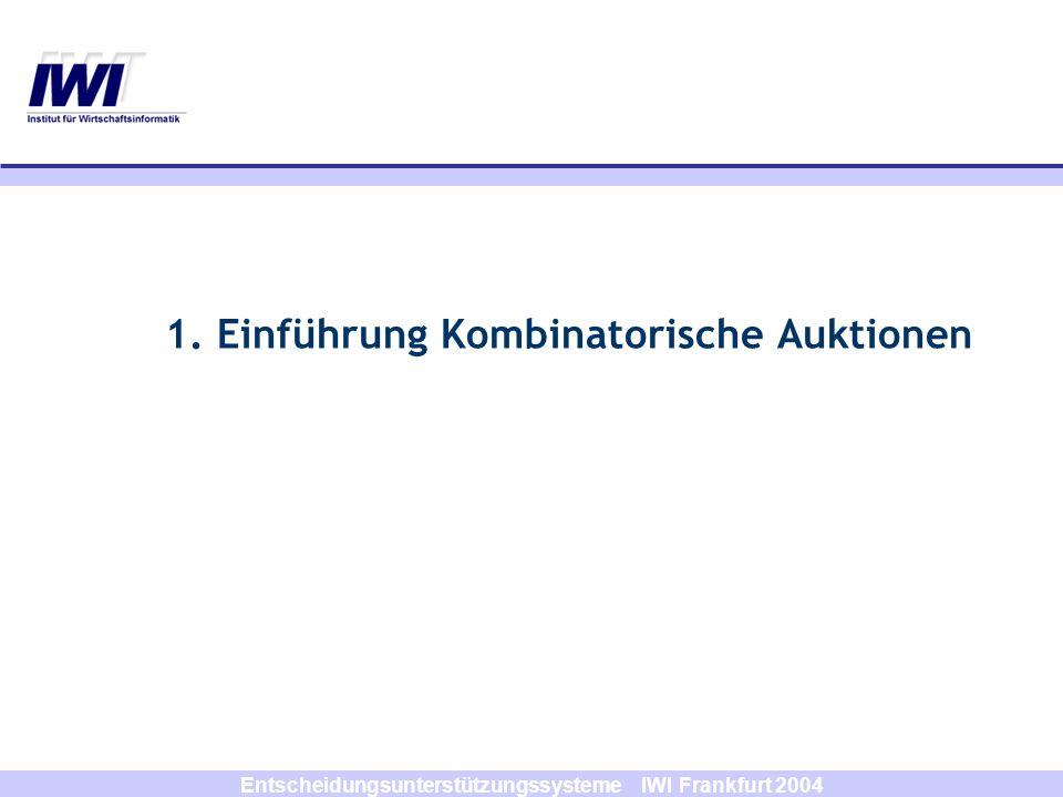 Entscheidungsunterstützungssysteme IWI Frankfurt 2004 Atomare Gebote jeder Bieter kann genau ein Gebot (S i, p i ) abgeben additiver Wert von zwei oder mehr Gütern (Synergien) kann nicht mit atomaren Geboten ausgedrückt werden Beispiel für einen atomaren Gebotsvektor: (A,B,10), d.h.