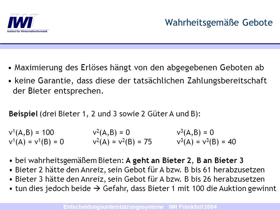 Entscheidungsunterstützungssysteme IWI Frankfurt 2004 Wahrheitsgemäße Gebote Maximierung des Erlöses hängt von den abgegebenen Geboten ab keine Garant