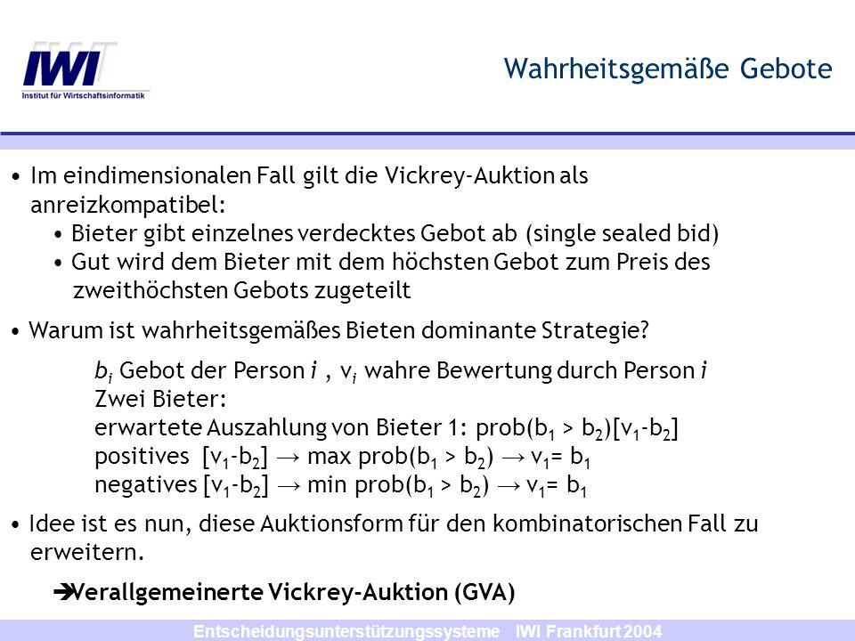Entscheidungsunterstützungssysteme IWI Frankfurt 2004 Wahrheitsgemäße Gebote Im eindimensionalen Fall gilt die Vickrey-Auktion als anreizkompatibel: B