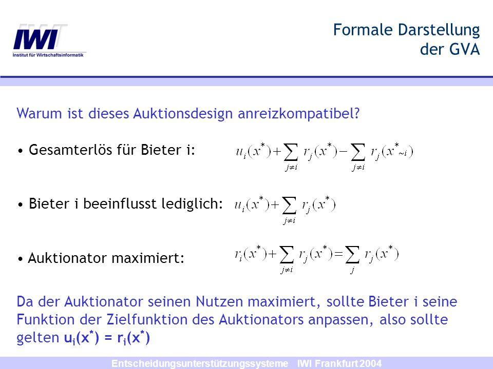 Entscheidungsunterstützungssysteme IWI Frankfurt 2004 Formale Darstellung der GVA Warum ist dieses Auktionsdesign anreizkompatibel? Gesamterlös für Bi