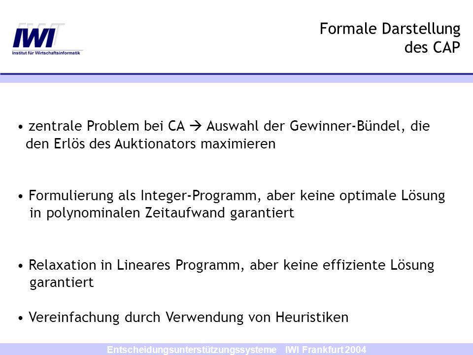 Entscheidungsunterstützungssysteme IWI Frankfurt 2004 Formale Darstellung des CAP zentrale Problem bei CA Auswahl der Gewinner-Bündel, die den Erlös d