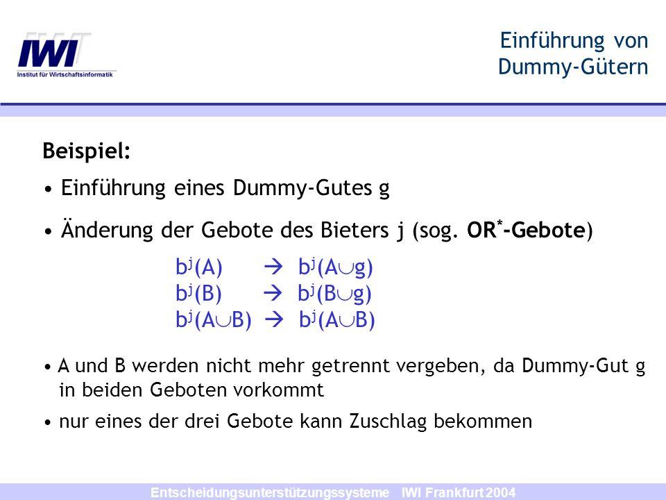 Entscheidungsunterstützungssysteme IWI Frankfurt 2004 Einführung von Dummy-Gütern Beispiel: Einführung eines Dummy-Gutes g Änderung der Gebote des Bie