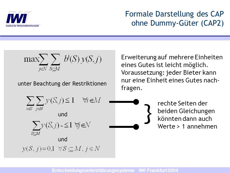 Entscheidungsunterstützungssysteme IWI Frankfurt 2004 Formale Darstellung des CAP ohne Dummy-Güter (CAP2) unter Beachtung der Restriktionen und Erweit