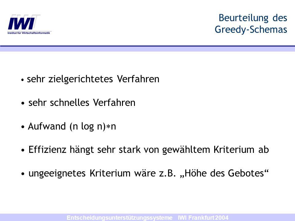 Entscheidungsunterstützungssysteme IWI Frankfurt 2004 Beurteilung des Greedy-Schemas sehr zielgerichtetes Verfahren sehr schnelles Verfahren Aufwand (