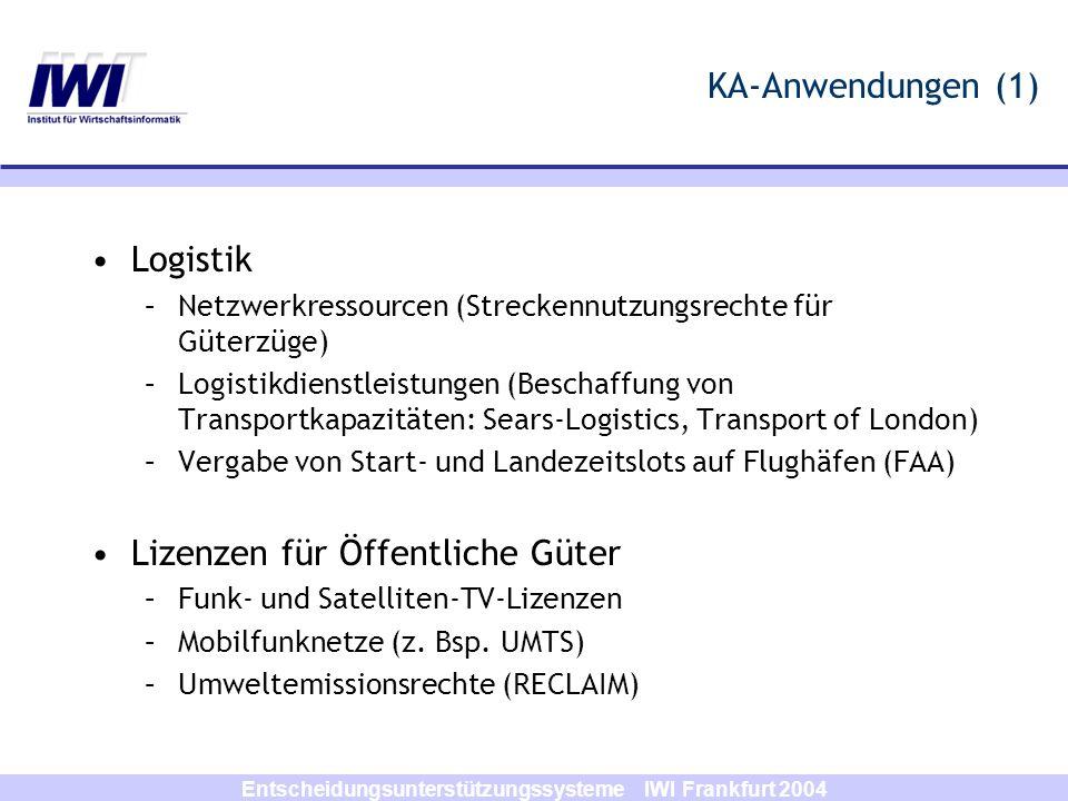 Entscheidungsunterstützungssysteme IWI Frankfurt 2004 KA-Anwendungen (1) Logistik –Netzwerkressourcen (Streckennutzungsrechte für Güterzüge) –Logistik