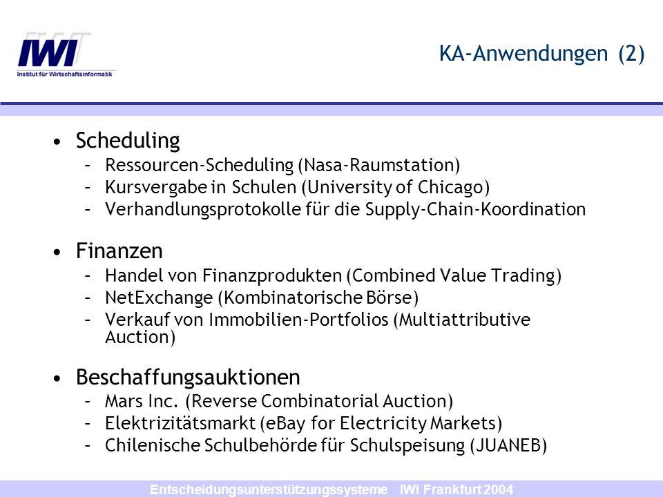 Entscheidungsunterstützungssysteme IWI Frankfurt 2004 KA-Anwendungen (2) Scheduling –Ressourcen-Scheduling (Nasa-Raumstation) –Kursvergabe in Schulen