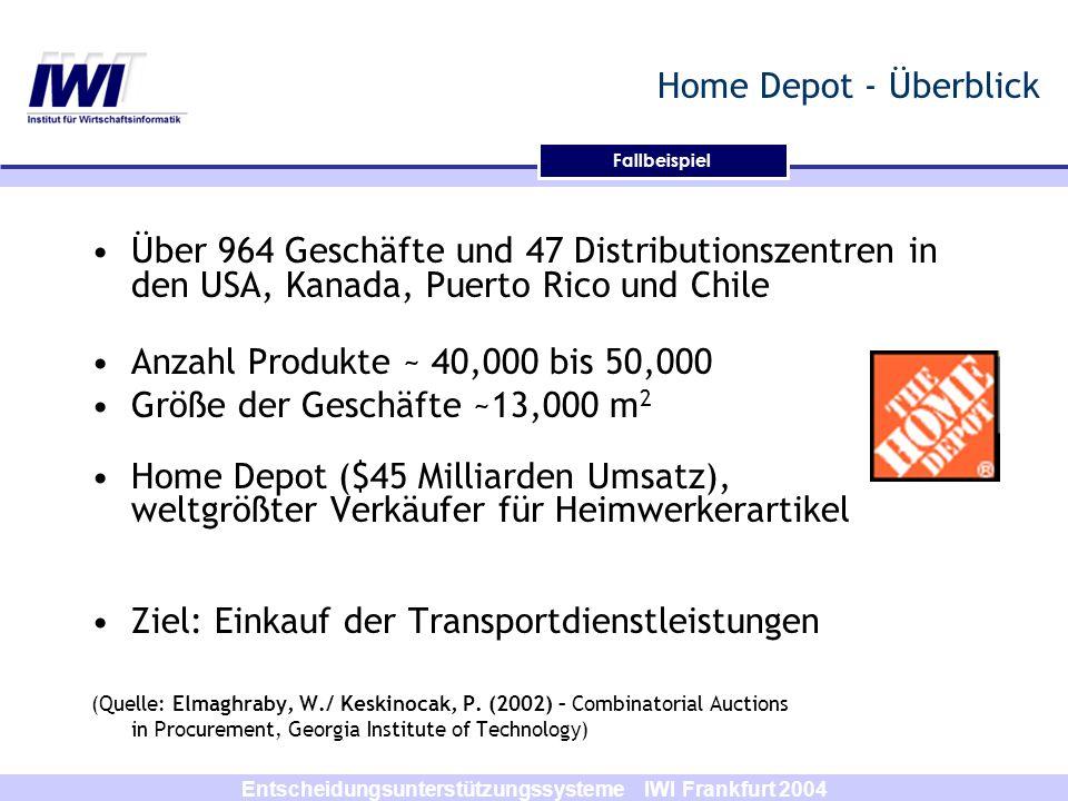 Entscheidungsunterstützungssysteme IWI Frankfurt 2004 Home Depot - Überblick Über 964 Geschäfte und 47 Distributionszentren in den USA, Kanada, Puerto