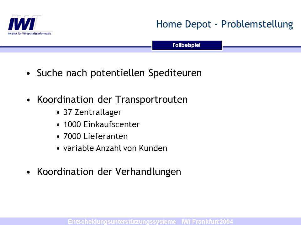 Entscheidungsunterstützungssysteme IWI Frankfurt 2004 Home Depot - Problemstellung Suche nach potentiellen Spediteuren Koordination der Transportroute