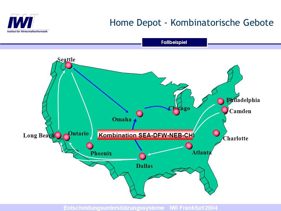 Entscheidungsunterstützungssysteme IWI Frankfurt 2004 Home Depot - Kombinatorische Gebote Dallas Phoenix Long Beach Ontario Omaha Seattle Chicago Atla